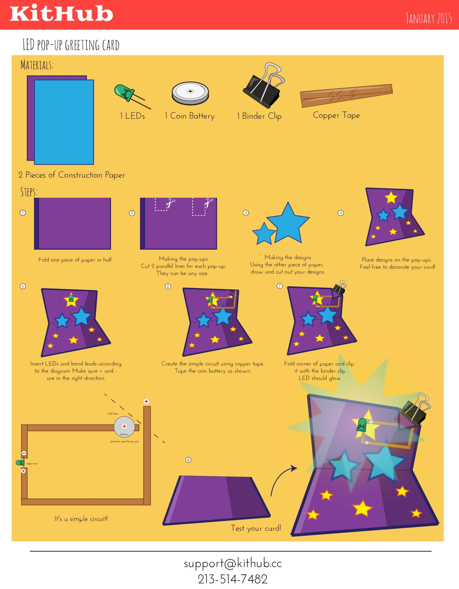 How To Make Electronic Circuits On Paper And Craft Materials Kithub Simple Circuit For Students Instructions Led Pop Up Greeting Card