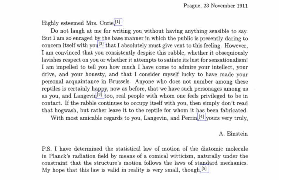 Letter from Albert Einstein to Marie Curie