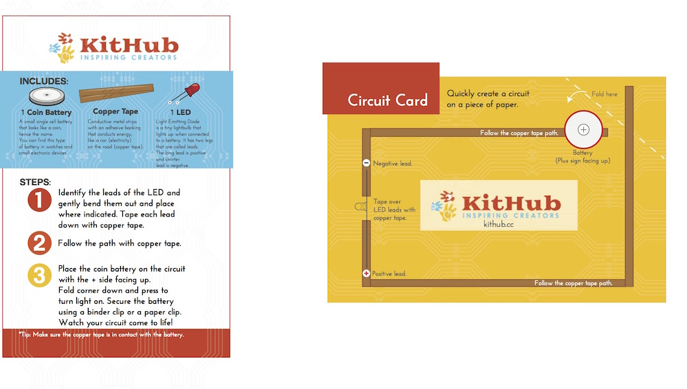KitHub Paper Circuit Instruction Card