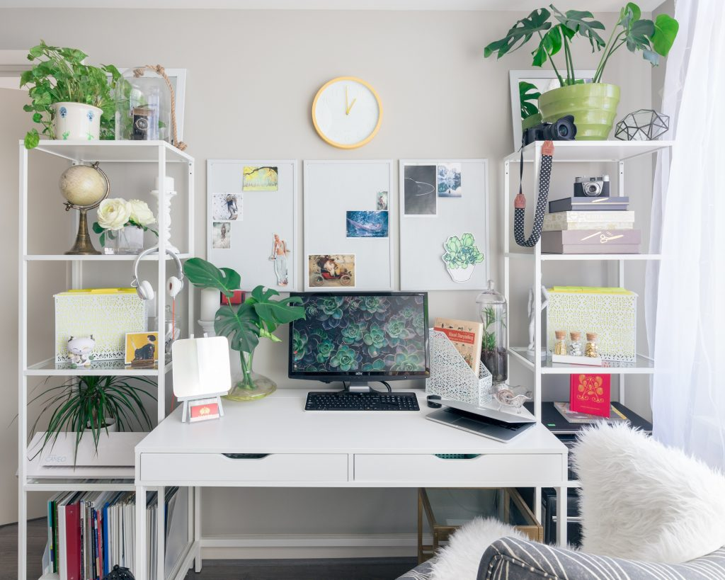 Tidy White Workspace With Plants